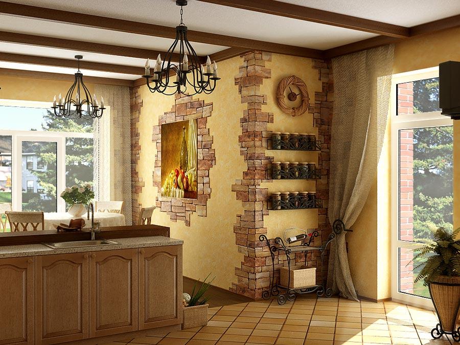 Сельский интерьер на кухне 196