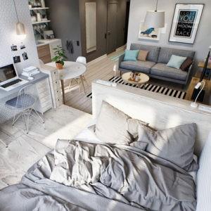 Стильный и практичный дизайн однокомнатной квартиры - студии