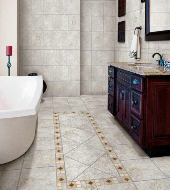 плитка из керамогранита для пола в ванной комнате