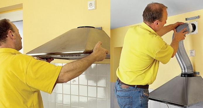 крепление и монтаж кухонной вытяжки
