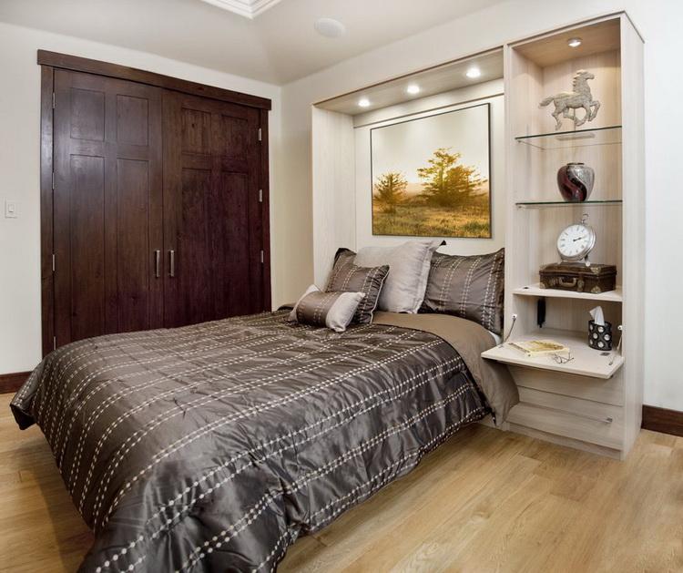 Встроенная прикроватная тумбочка в спальне